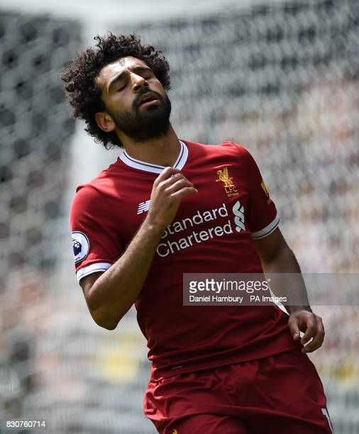 Liverpool's Mohamed Salah rues a missed chance during the Premier League match at Vicarage Road Watford