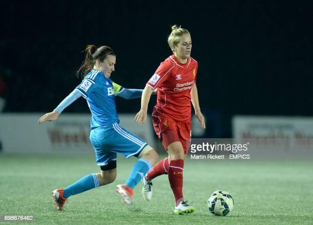 Liverpool's Natasha Dowie and Sunderland's Stephanie Bannon battle for the ball