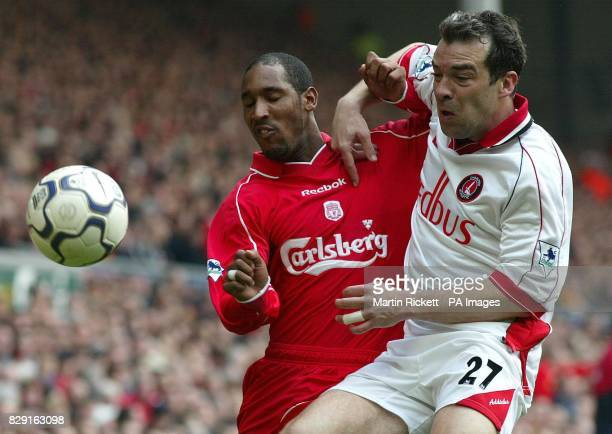 Liverpool's Nicolas Anelka and Charlton's Jorge Costa jostle for the ball during the Barclaycard Premiership match at Anfield Liverpool Liverpool won...
