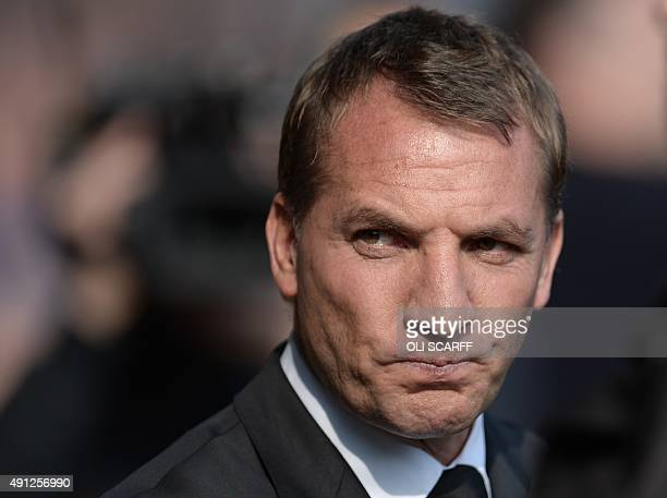 Liverpool's Northern Irish manager Brendan Rodgers ahead of the English Premier League football match between Everton and Liverpool at Goodison Park...