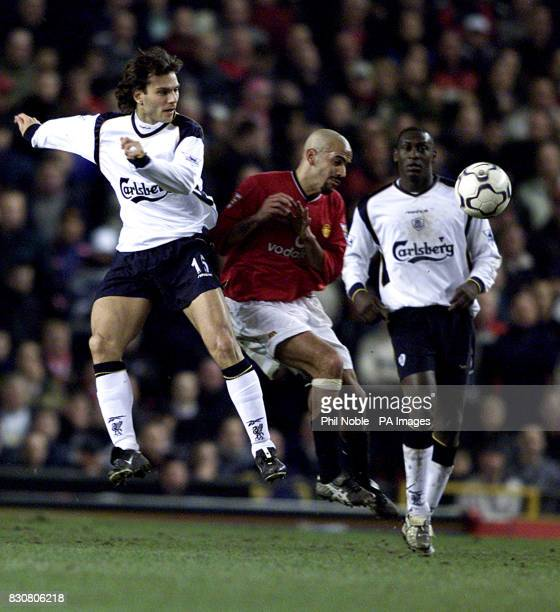 Liverpool's Patrick Berger in action against Manchester United's Juan Veron in the FA Barclaycard Premiership game between Manchester United v...