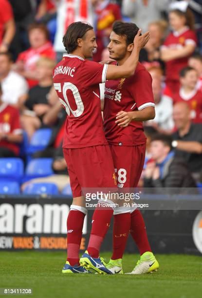 Liverpool's Pedro Chirivella celebrates scoring his team's third goal during the preseason friendly at Prenton Park Tranmere