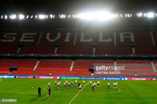 Liverpool's players attend a training session at Ramon Sanchez Pizjuan stadium in Sevilla on November 20 2017 on the eve of the UEFA Champions League...