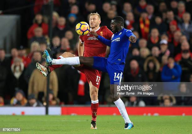 Liverpool's Ragnar Klavan and Chelsea's Tiemoue Bakayoko in action during the Premier League match at Anfield Liverpool