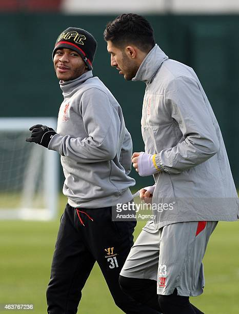 Liverpool's Raheem Sterling and team mate Emre Can attend the team training session at Melwood training ground in Liverpool 18 February 2015...