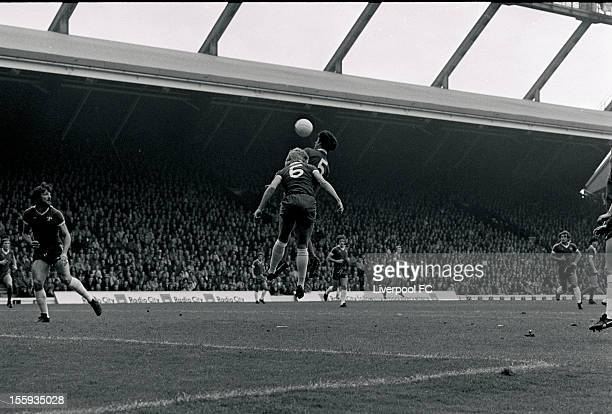 Liverpool's Ray Kennedy heads in the air up with Chelsea's Micky Droy during the league division one match between Liverpool and Chelsea at Anfield...
