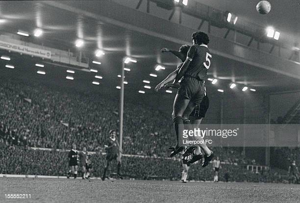 Liverpool's Ray Kennedy wins the ball in the air during the Division One match between Liverpool and Newcastle United at Anfield on August 23 1977 in...