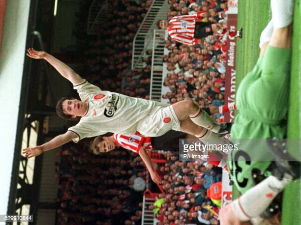 Liverpool's Robbie Fowler celebrates his 33 minute goal against Sunderland at Roker Park todayPhoto Owen Humphreys/PA