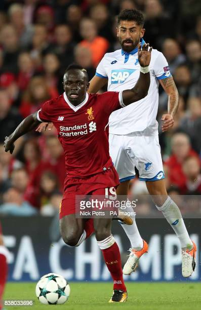 Liverpool's Sadio Mane and Hoffenheim's Kerem Demirbay in action during the UEFA Champions League PlayOff Second Leg match at Anfield Liverpool