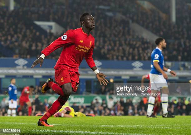 Liverpool's Sadio Mane celebrates scoring the only goal of the match in jury time to secure a win for his team during the Premier League match...