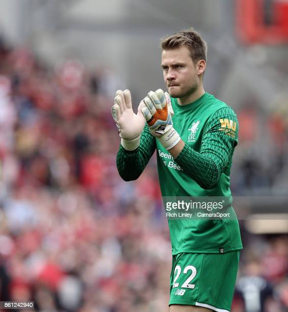 Liverpool's Simon Mignolet applauds the fans at the final whistle during the Premier League match between Liverpool and Manchester United at Anfield...