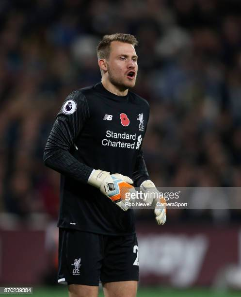 Liverpool's Simon Mignolet during the Premier League match between West Ham United and Liverpool at London Stadium on November 4 2017 in London...