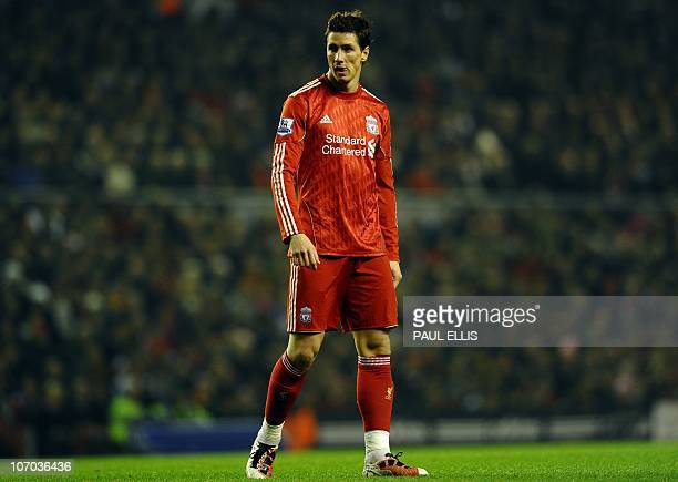 Liverpool's Spanish forward Fernando Torres looks down the field against West Ham United during their English Premier League football match at...