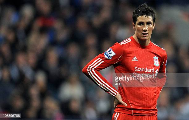 Liverpool's Spanish forward Fernando Torres reacts during the English Premier League football match against Bolton Wanderers' at The Reebok stadium...
