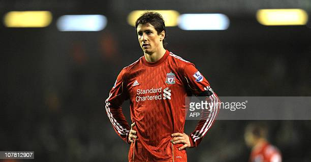 Liverpool's Spanish forward Fernando Torres reacts during their English Premier League football match against Wolverhampton Wanderers at Anfield...