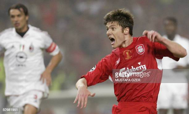 Liverpool's Spanish midfielder Xabi Alonso jubilates after scoring a goal during the UEFA Champions league football final AC Milan vs Liverpool 25...