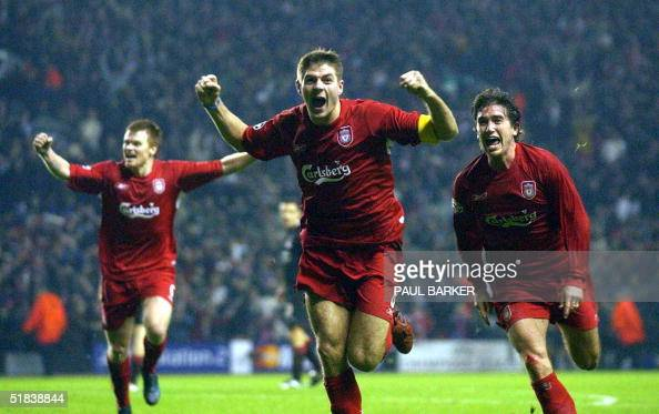 Liverpool's Steven Gerard flanked by John Arne Riise and Harry Kew ll celebrates scoring to make it 31 against Olympiakos CFP during their UEFA...