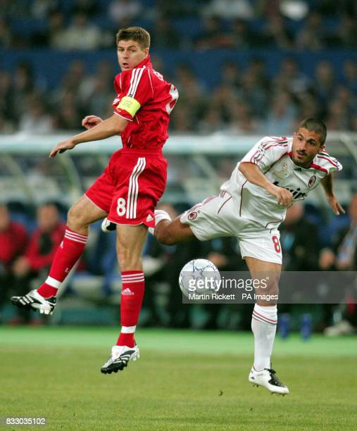 Liverpool's Steven Gerrard and AC Milan's Gennaro Gattuso during the Champions League Final at the Athens Olympic Stadium Athens Greece