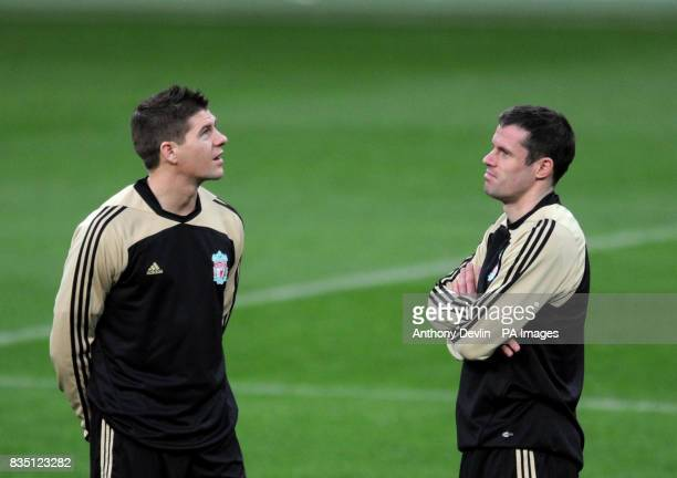 Liverpool's Steven Gerrard and Jamie Carragher during a training session at the Santiago Bernabeu Stadium Madrid