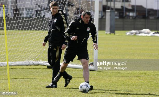 Liverpool's Steven Gerrard and Jamie Carragher during a training session at Melwood Training Ground Liverpool