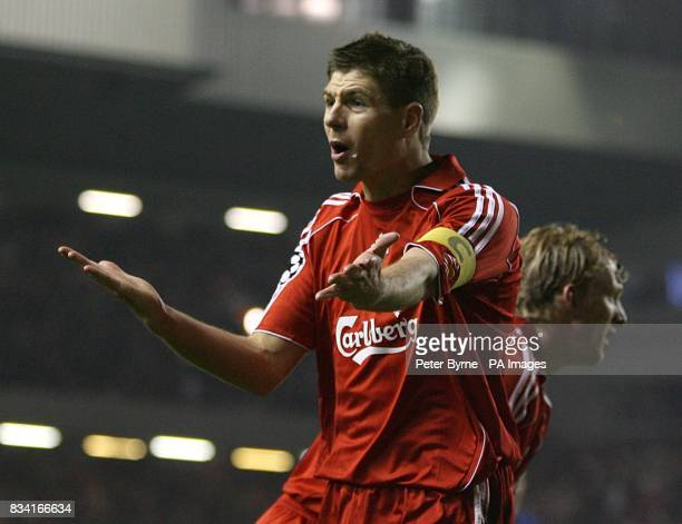 Liverpool's Steven Gerrard appeals to the linesman for hand ball