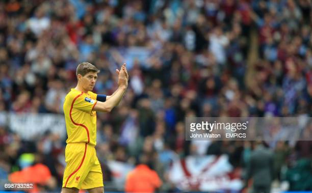 Liverpool's Steven Gerrard applauds the fans after the match