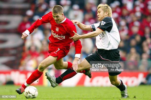 Liverpool's Steven Gerrard battles for the ball against Fulham's Junichi Inamoto during their Barclaycard Premiership match at Liverpool's Anfield...