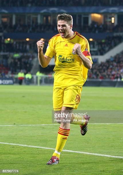 Liverpool's Steven Gerrard celebrates after scoring
