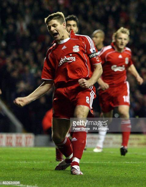 Liverpool's Steven Gerrard celebrates his goal against Fulham during the FA Barclays Premiership match at Anfield Liverpool