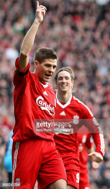 Liverpool's Steven Gerrard celebrates scoring his sides third goal of the game