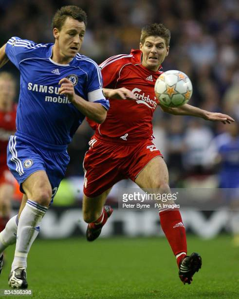 Liverpool's Steven Gerrard Chelsea's John Terry during the UEFA Champions League Semi Final First Leg match at Anfield Liverpool