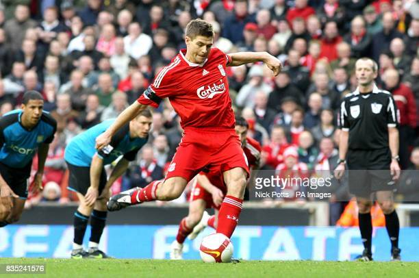 Liverpool's Steven Gerrard completes his hattirck and scores his sides fifth goal of the game