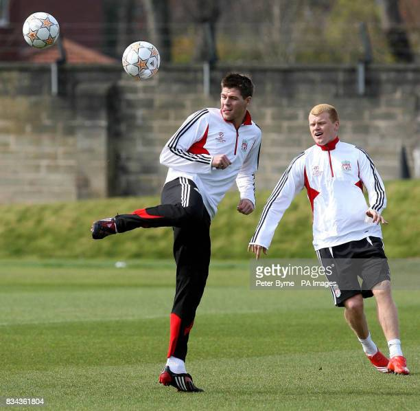 Liverpool's Steven Gerrard during the training session at Melwood Liverpool