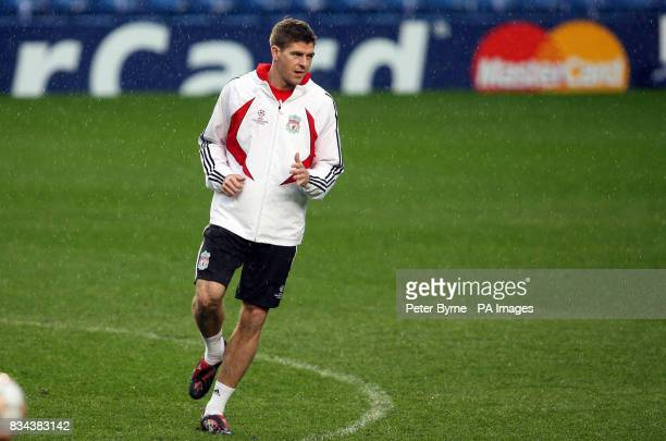 Liverpool's Steven Gerrard during the training session at Stamford Bridge London
