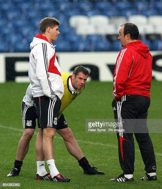 Liverpool's Steven Gerrard Jamie Carragher and manager Rafael Benitez during the training session at Stamford Bridge London