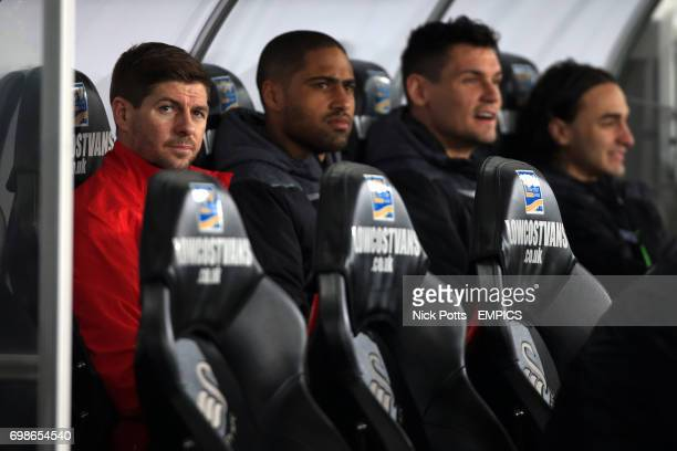 Liverpool's Steven Gerrard on the bench at start of the game