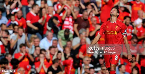 Liverpool's Steven Gerrard rues a missed chance as Southampton's Arthur Boruc saves his free kick during the Barclays Premier League match at Anfield...