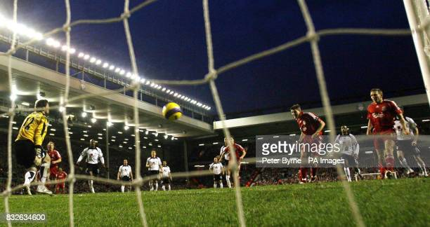 Liverpool's Steven Gerrard scores against Fulham during the FA Barclays Premiership match at Anfield Liverpool