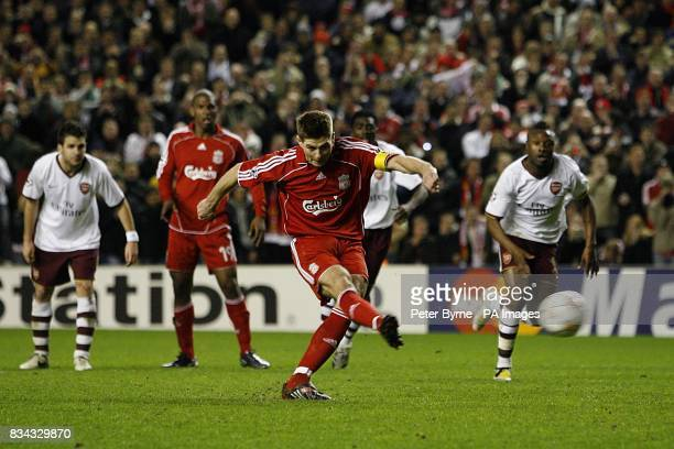 Liverpool's Steven Gerrard scores the fifth goal of the game from the penalty spot