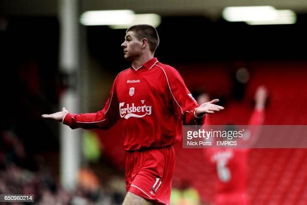 Liverpool's Steven Gerrard shrugs his shoulders after scoring a spectacular goal