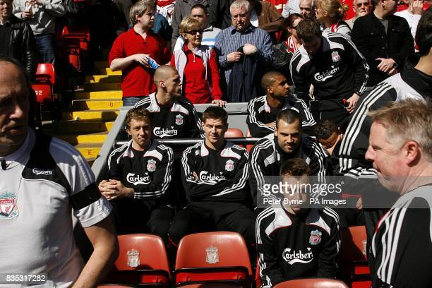 Liverpool's Steven Gerrard sits on the substitutes bench prior to kick off