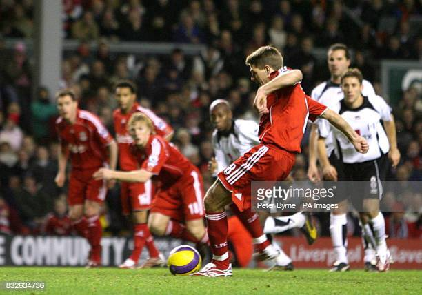 Liverpool's Steven Gerrard strikes the penalty which led to the opening goal