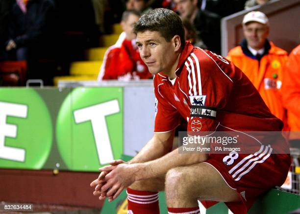 Liverpool's Steven Gerrard takes a break from the action