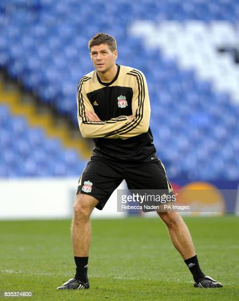 Liverpool's Steven Gerrard warms up during a Training Session at Stamford Bridge London