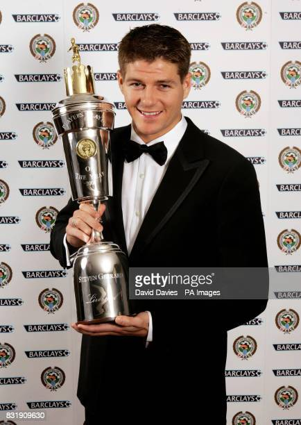 Liverpool's Steven Gerrard with the PFA Player of the Year Award he received at the Grosvenor House Hotel London
