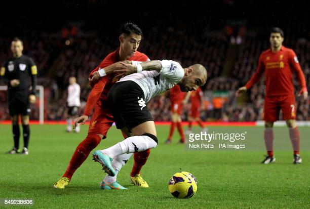 Liverpool's Suso in action with Fulham's Ashkan Dejagah