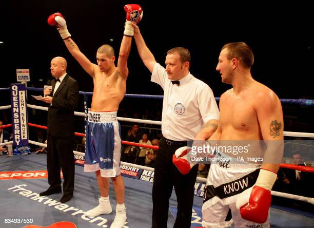 Liverpool's Tony Bellew celebrates his victory over Hull's Phil Goodwin during the LightHeavyweight Contest at the Kingsway Sports Centre Widnes