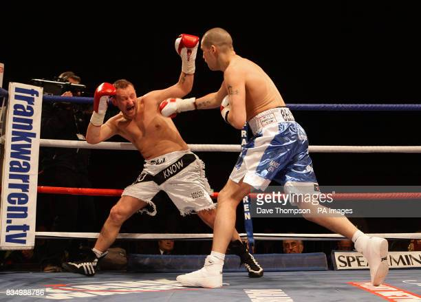 Liverpool's Tony Bellew in action with Hull's Phil Goodwin during the LightHeavyweight Contest at the Kingsway Sports Centre Widnes