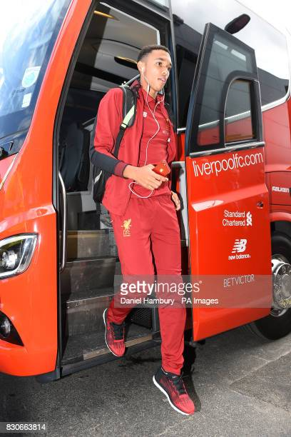 Liverpool's Trent AlexanderArnold arriving before the Premier League match at Vicarage Road Watford