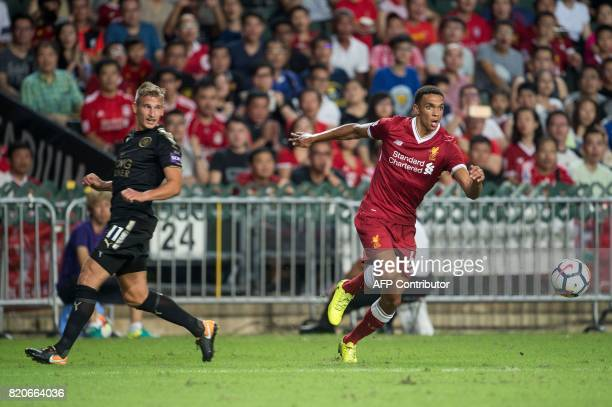 Liverpool's Trent AlexanderArnold controls the ball during the final of the Premier League Asia Trophy football tournament between Liverpool and...